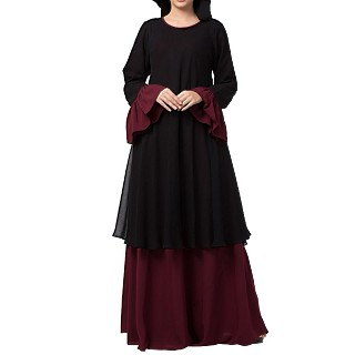 Double layered dress abaya with bell sleeves- Black-Wine