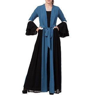 Designer abaya with attached Shrug and a belt- Blue-Black
