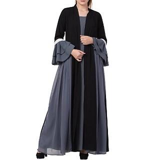 Designer abaya with attached Shrug and a belt- Black-Grey