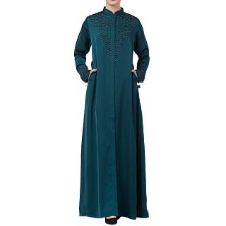 Designer Front open Nida abaya with handwork- Teal