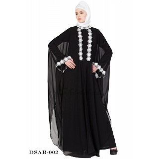 Designer kaftan abaya - Black lacey maxi dress