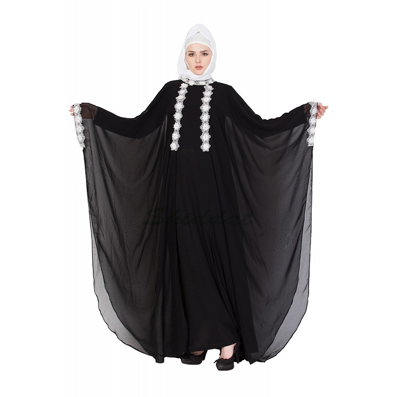 Buy Layered Designer Kaftan Abayas With Lace And Fairy Sleeves Online