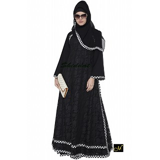 Double layered lace abaya- Black