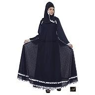 Double layered abaya- Navy Blue