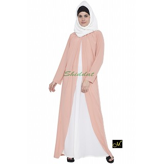 Designer abaya - Pink and Off-white Color