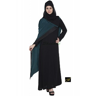 Designer abaya - Black and Midnight Blue Color