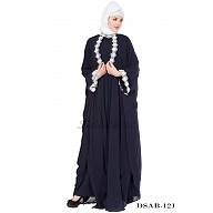 Designer Kaftan abaya - Navy Blue full flared