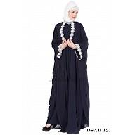 Designer Kaftan abaya - Navy Blue full flared