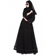 Layered designer abaya - Black