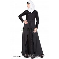Layered abaya- Black lacey prayer set