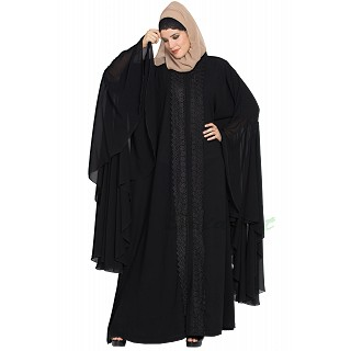 Designer front-open abaya with Lacework