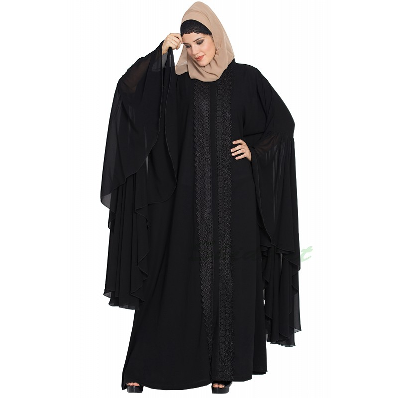 3f91b579494fb Designer front-open abaya with Lacework