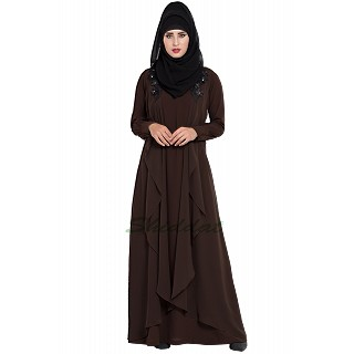 Designer Shrug Abaya- Brown