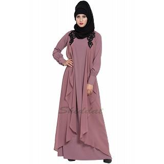Designer Shrug Abaya- Puce Pink
