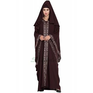 Dubai style designer Kaftan abaya- Dark Brown