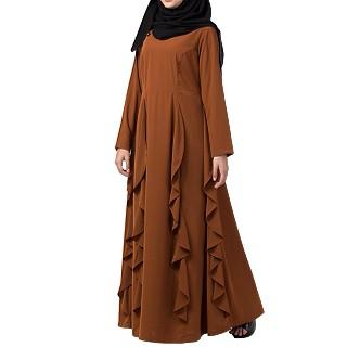 Designer abaya with falling panels- Caramel Brown