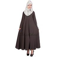 Umbrella cut abaya- Shadow Grey