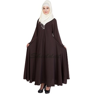 Dark Chocolate abaya- Umbrella cut