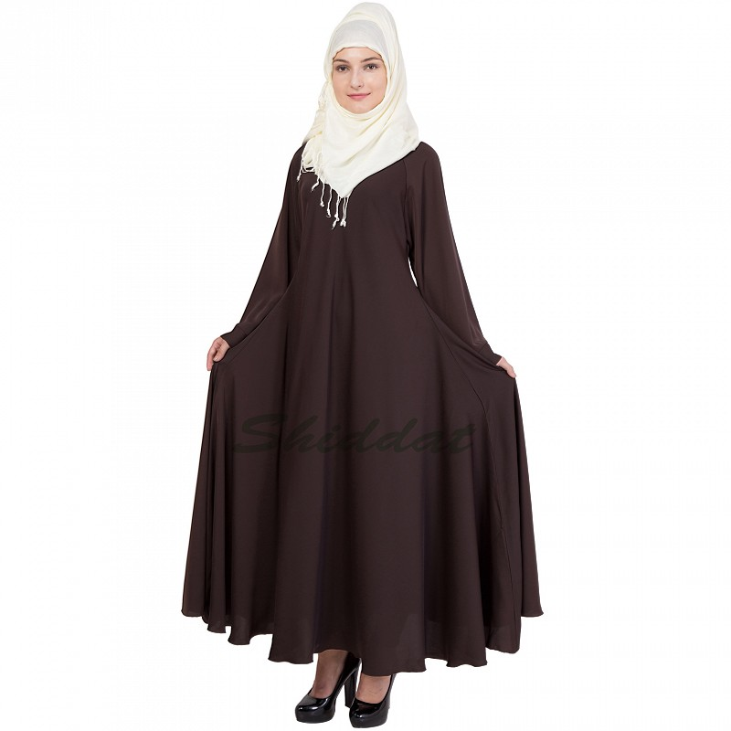 afe195a894e8 Umbrella Abaya in Dark Chocolate color online in India at shiddat.com