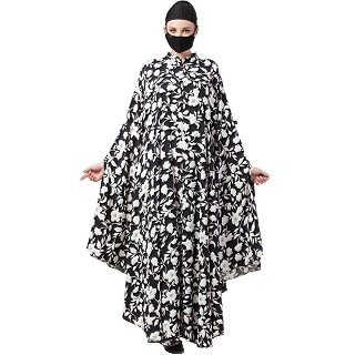 Irani kaftan with Floral print- Black-White