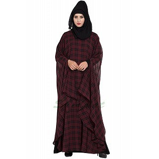 Checkered Irani kaftan with Black inner abaya