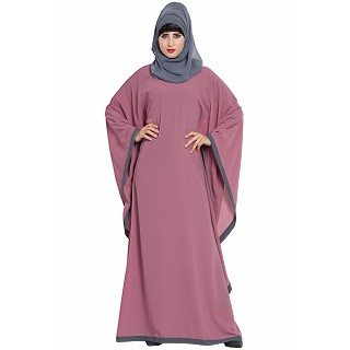 Kaftan abaya in dual color- Puce Pink-Grey