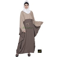 Kaftan Islamic dress - Light Grey and Beige