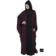 Kaftan Abaya - Black and Maroon