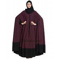 Two pieces designer Irani kaftan- Black-Wine