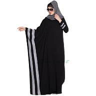 Kaftan style abaya- Black-Grey