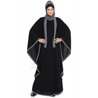 Kaftan abaya with Grey borders- Black