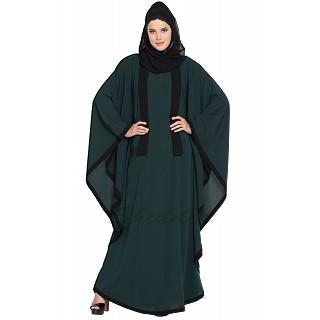 Kaftan abaya with Black borders- Green