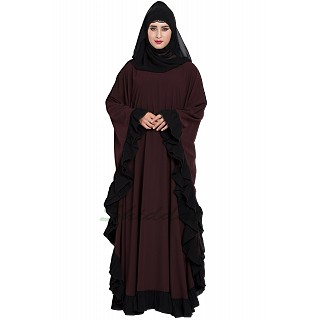 Designer kaftan abaya with Ruffled border- Wine color