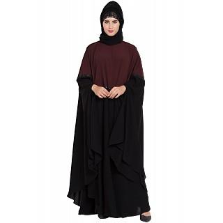 Dual colored designer Irani kaftan- Wine-Black