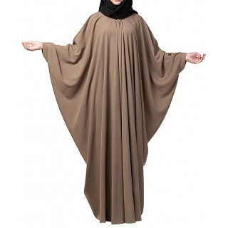 Kaftan abaya with pleats- Oat color