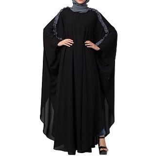 Kaftan abaya with ruffles on sleeves- Black-Grey