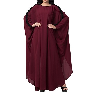 Kaftan abaya with ruffles on sleeves- Maroon-Black