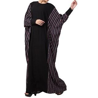Checkered Kaftan abaya- Black-Multi