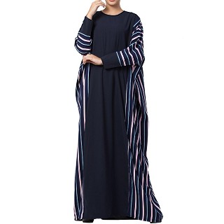 Checkered Kaftan abaya- Blue-Multi color