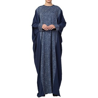 Designer printed Kaftan abaya- Blue-Multi color