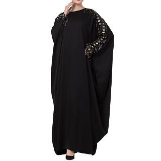 Designer Kaftan abaya with lacework- Black