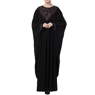 Kaftan abaya with Chikan embroidery work- Black