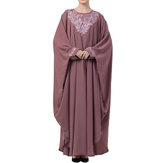 Kaftan abaya with Chikan embroidery work- Puce Pink