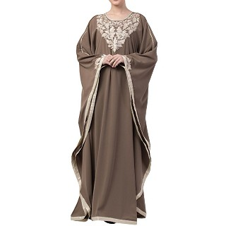 Kaftan abaya with Chikan embroidery work- Khaki