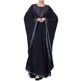 Kaftan abaya with Chikan embroidery work- Navy Blue
