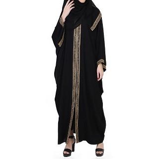Designer Kaftan abaya with lacework- Black-Beige