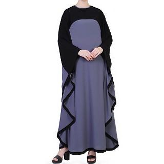 Duel colored Kaftan abaya - Grey-Black