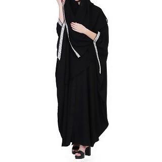Designer Kaftan abaya with free Sleeves- Black-White