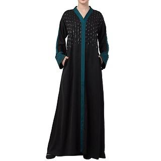 Premium Front open Nida abaya with handwork- Black-Teal