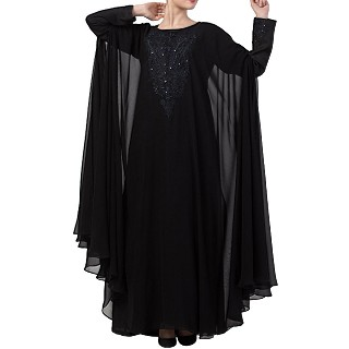 Occasion wear abaya with Embroidery work- Black